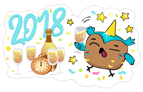 Happy New Year 2018 stickers